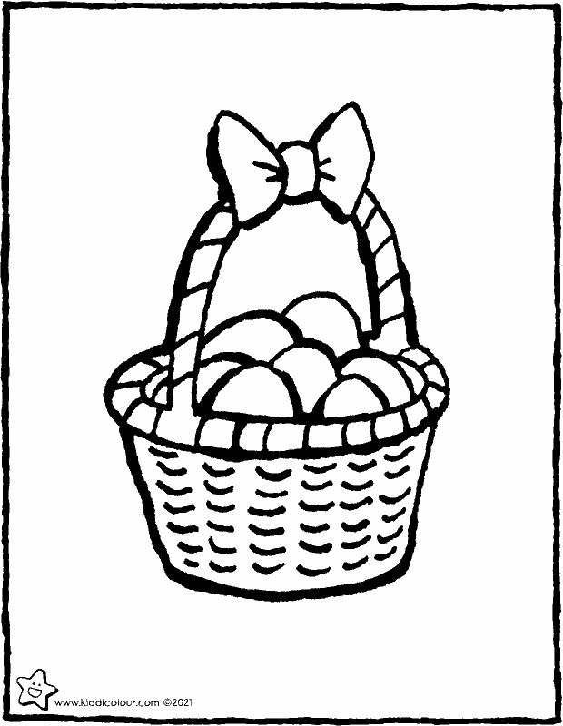 basket of eggs colouring page drawing picture 01k
