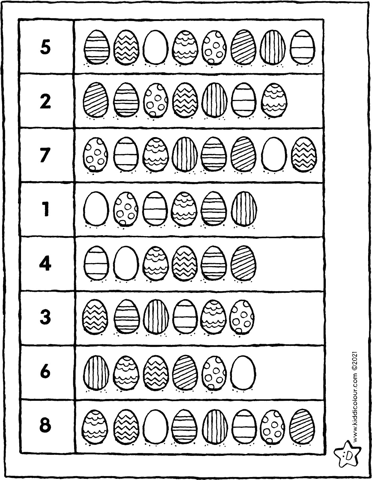colour in the correct number of Easter eggs colouring page drawing picture 01V