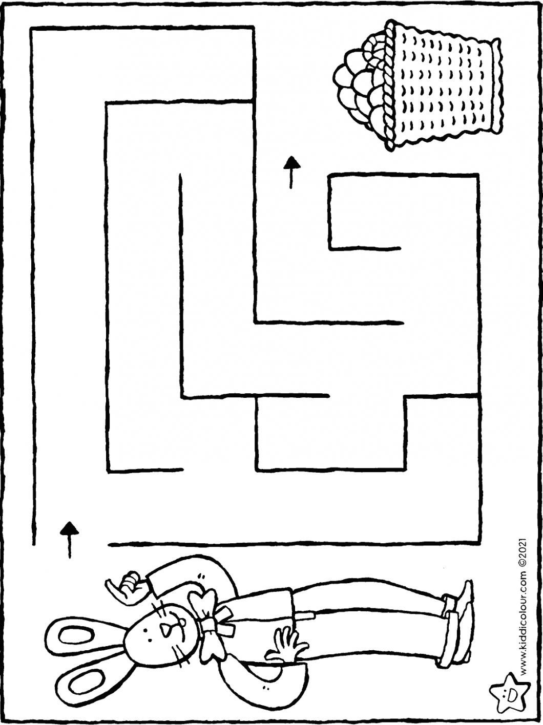 guide the Easter bunny to the basket of Easter eggs maze colouring page drawing picture 01H