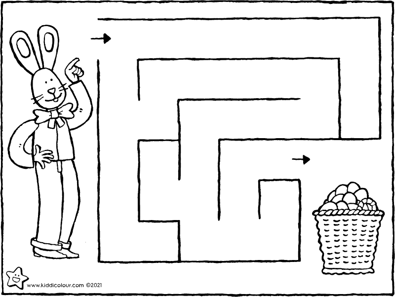 guide the Easter bunny to the basket of Easter eggs maze colouring page drawing picture 01k
