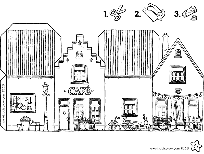 make your own little café colouring page drawing picture 01k