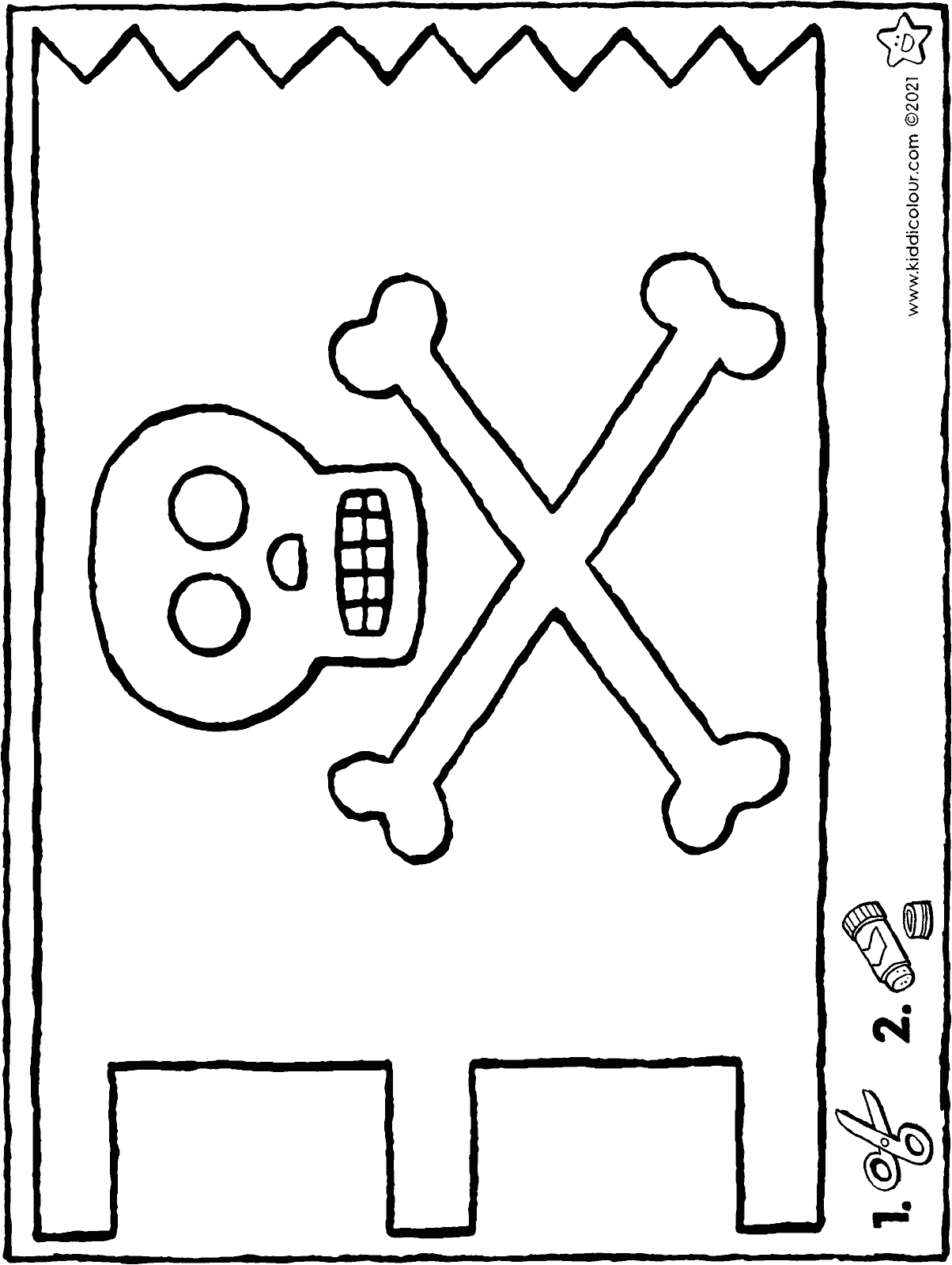 make your own pirate flag colouring page drawing picture 01H