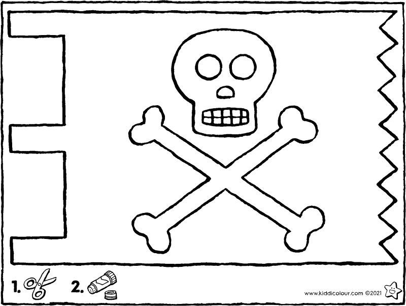 make your own pirate flag colouring page drawing picture 01k