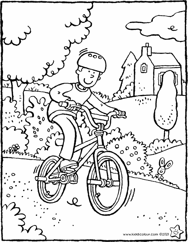 riding a BMX bike colouring page drawing picture 01k