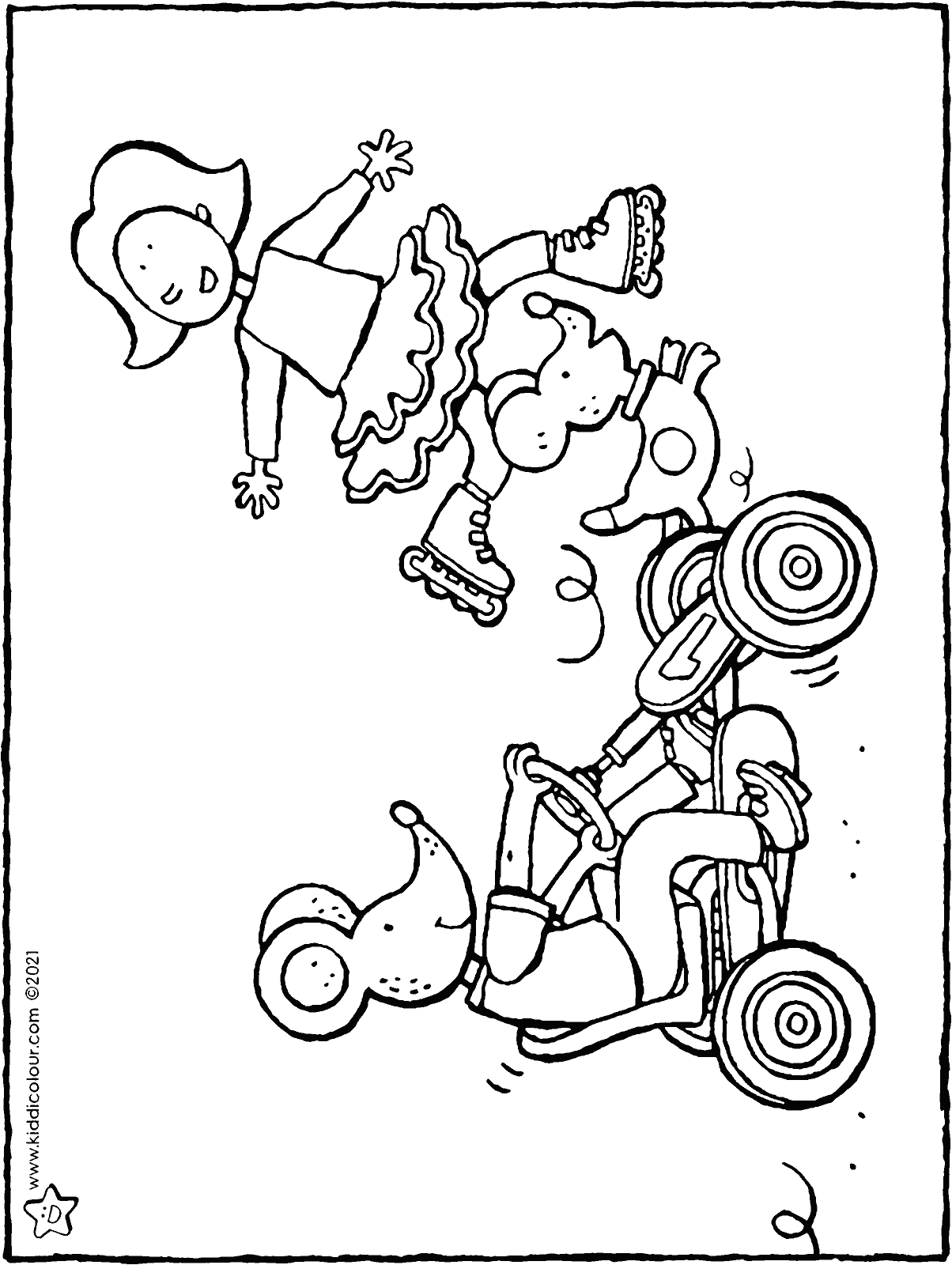 Emma and Thomas on wheels colouring page drawing picture 01V