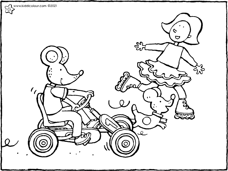 Emma and Thomas on wheels colouring page drawing picture 01k