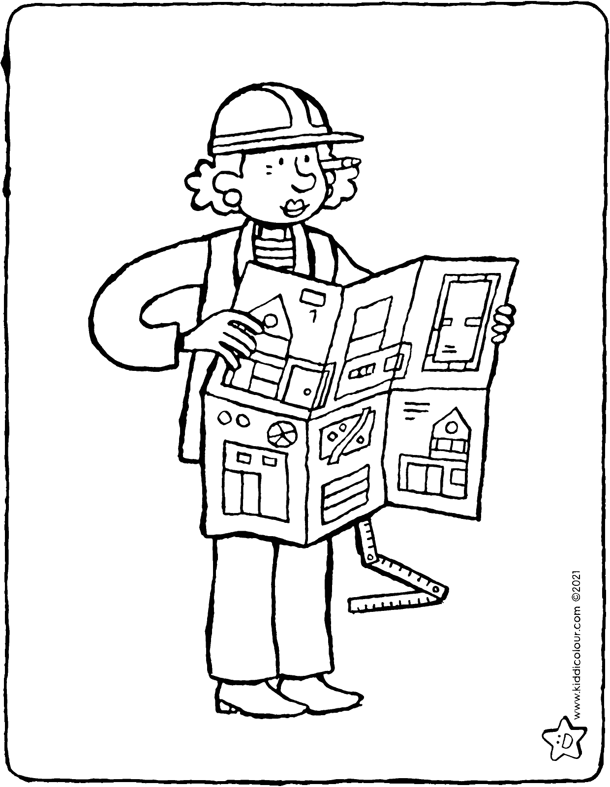 architect colouring page drawing picture 01V