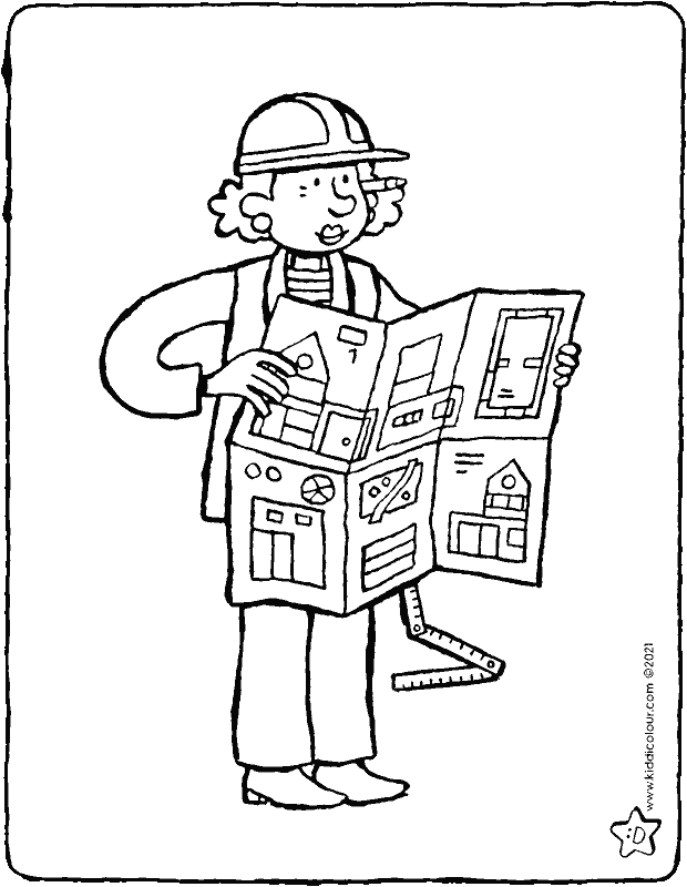 architect colouring page drawing picture 01k