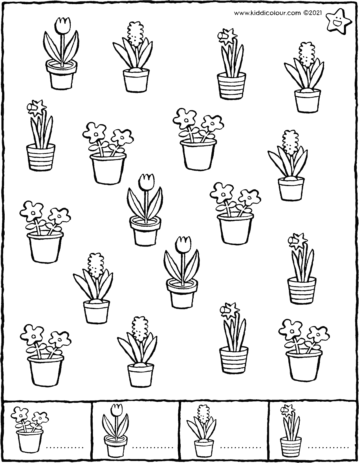 count the flowers in spring – preparation for counting colouring page drawing picture 01V
