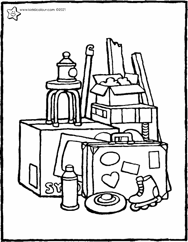 junk in the attic colouring page drawing picture 01k