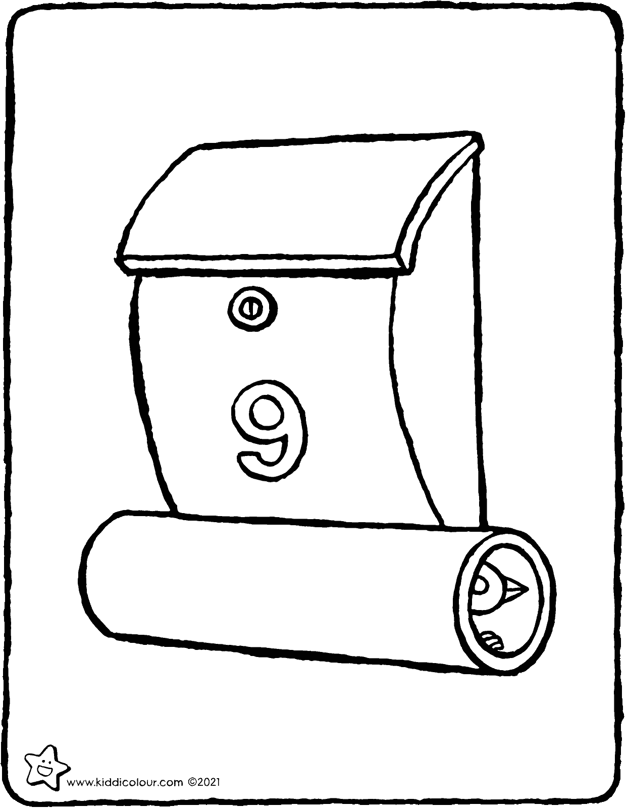 letter box colouring page drawing picture 01V