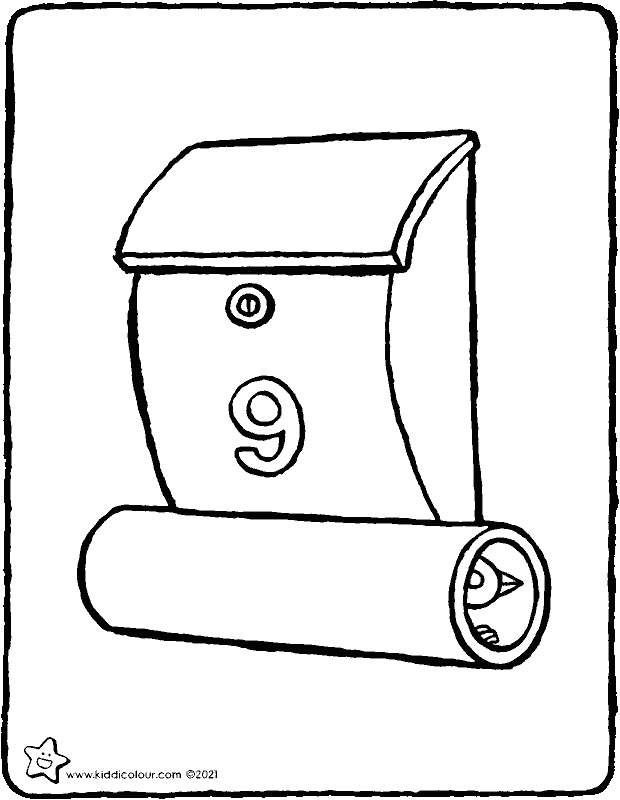 letter box colouring page drawing picture 01k