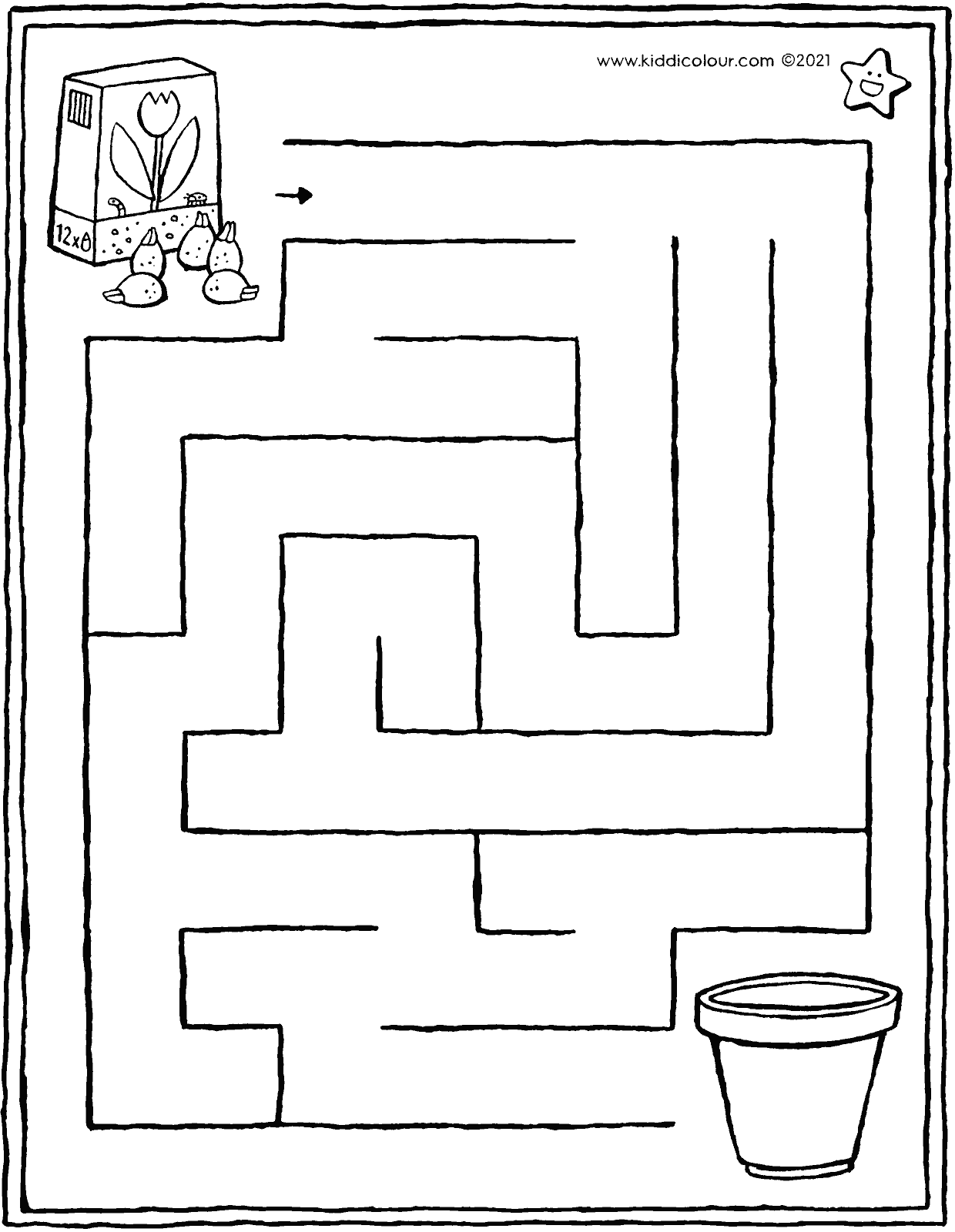 maze - bring the bulbs to the flowerpot colouring page drawing picture 01V