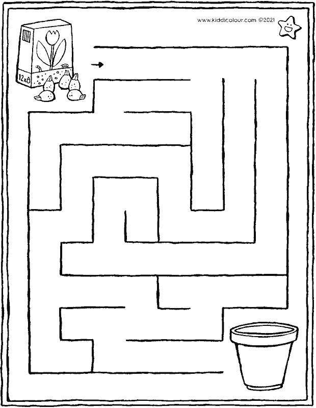 maze - bring the bulbs to the flowerpot colouring page drawing picture 01k