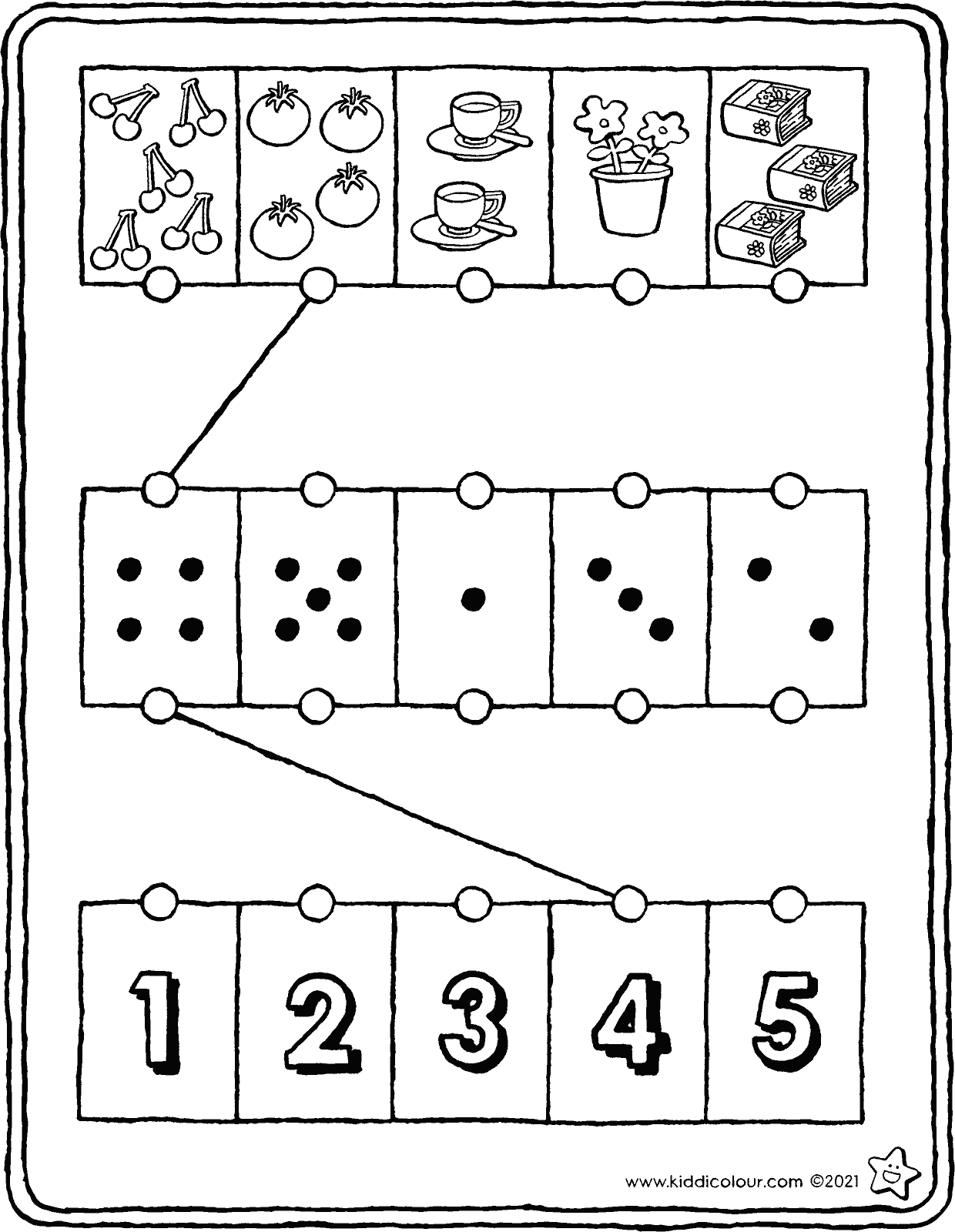 number sense exercise from 1 to 5 colouring page drawing picture 01V