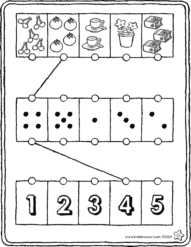 number sense exercise from 1 to 5 colouring page drawing picture 01k