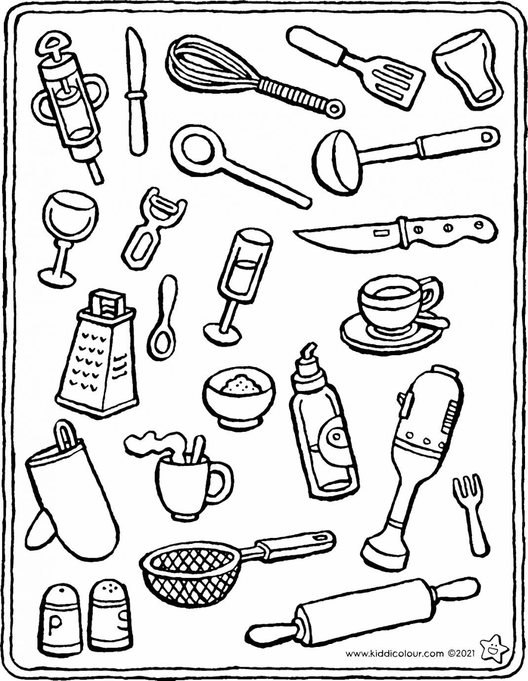 objects you'll find in the kitchen colouring page drawing picture 01V