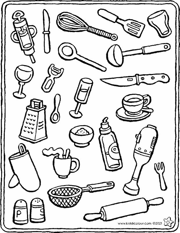 objects you'll find in the kitchen colouring page drawing picture 01k