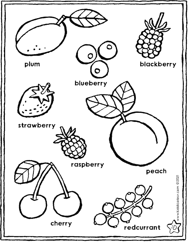 summer fruit colouring page drawing picture 01k