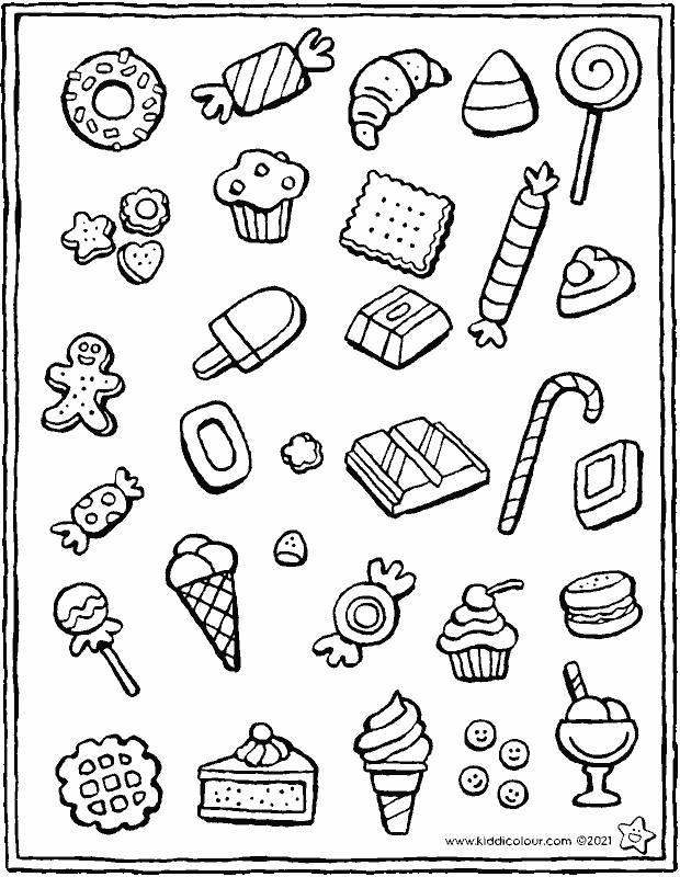 sweets, ice creams, biscuits and cakes colouring page drawing picture 01k