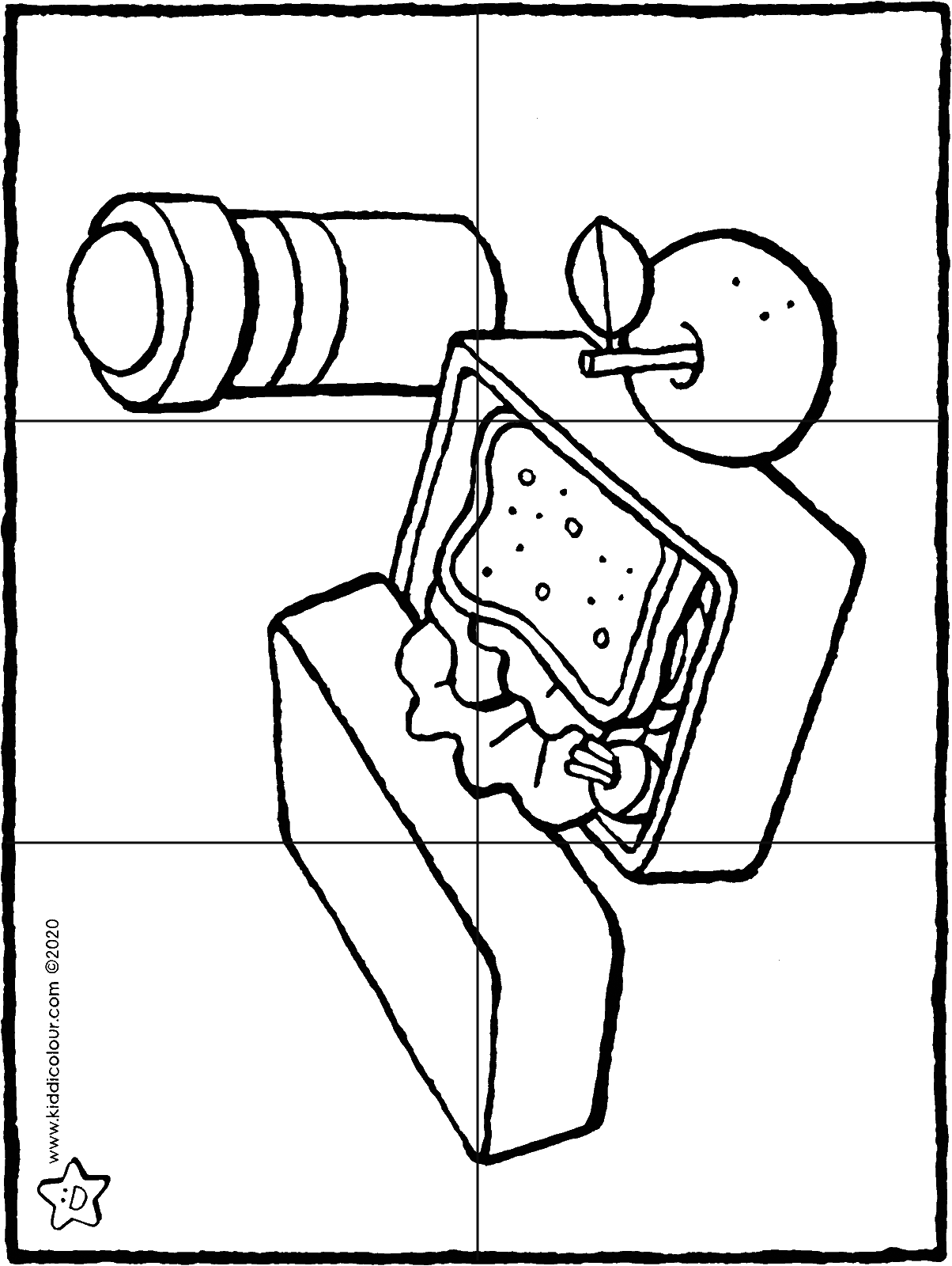 6-piece lunchbox puzzle colouring page drawing picture 01H