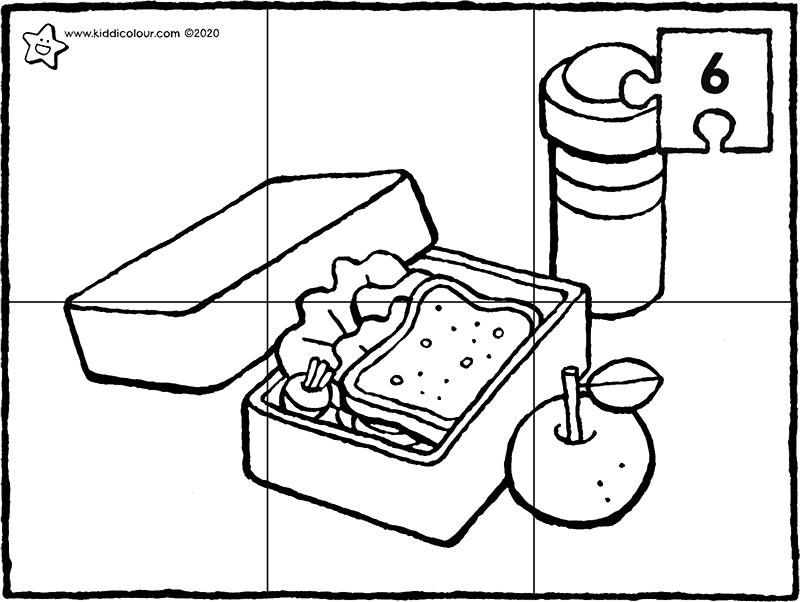 6-piece lunchbox puzzle colouring page drawing picture 01k