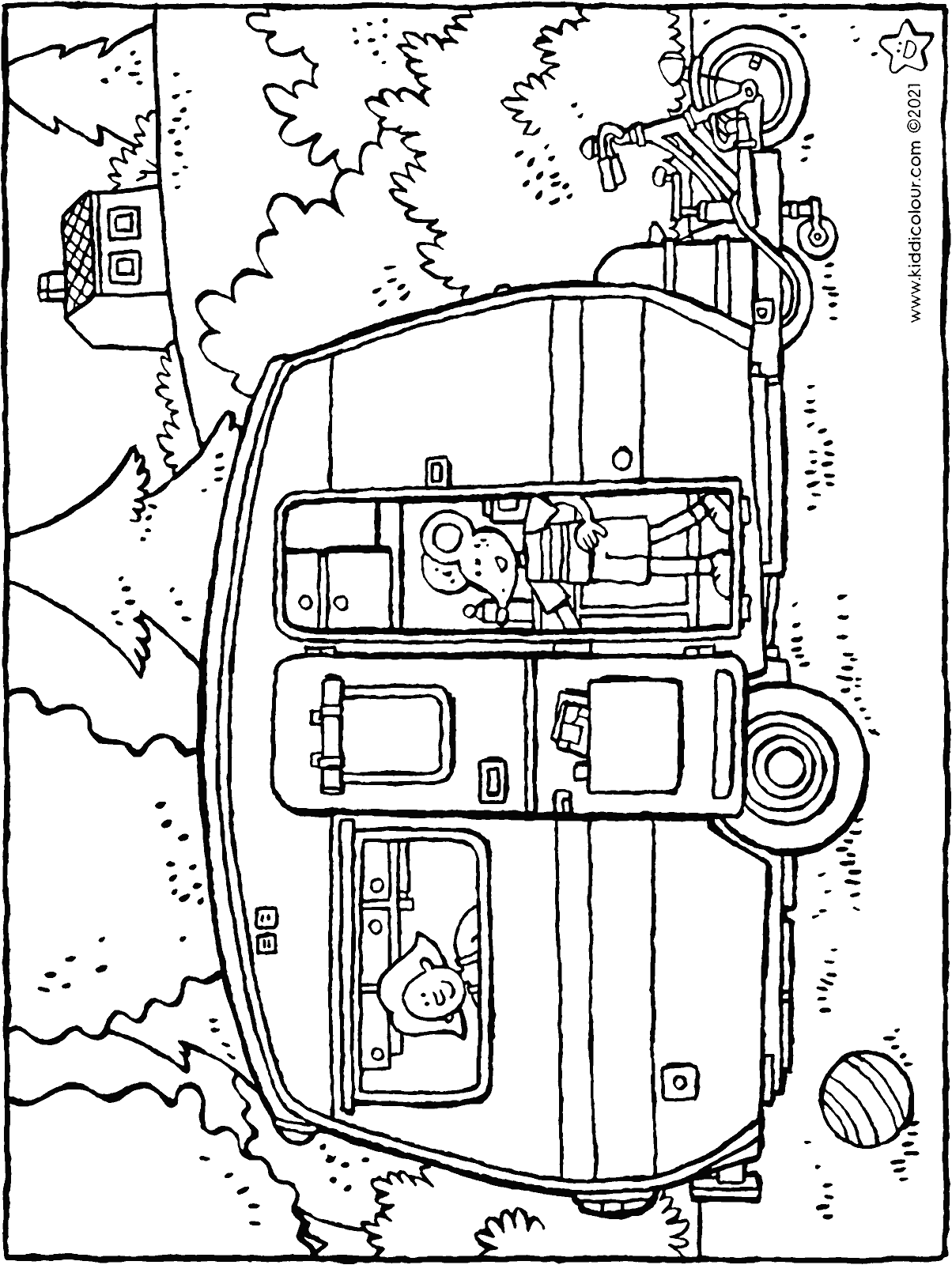 caravan holiday colouring page drawing picture 01H