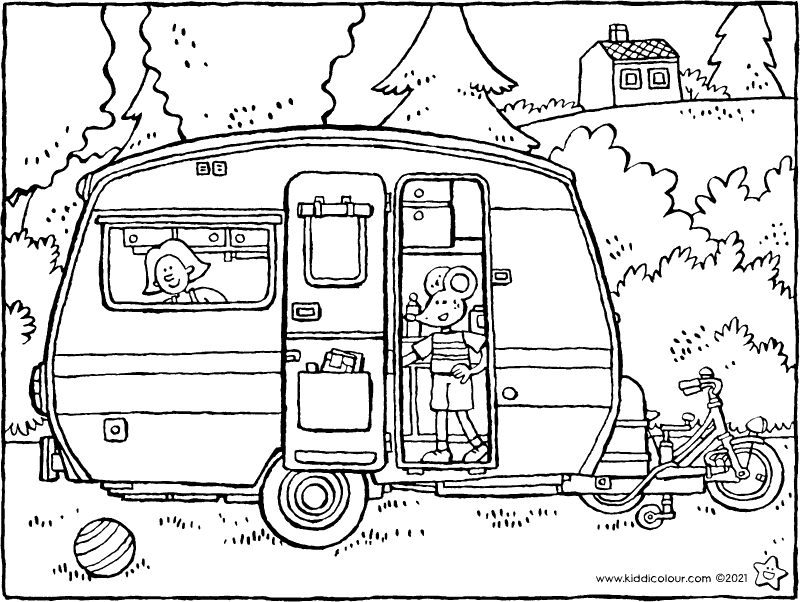 caravan holiday colouring page drawing picture 01k