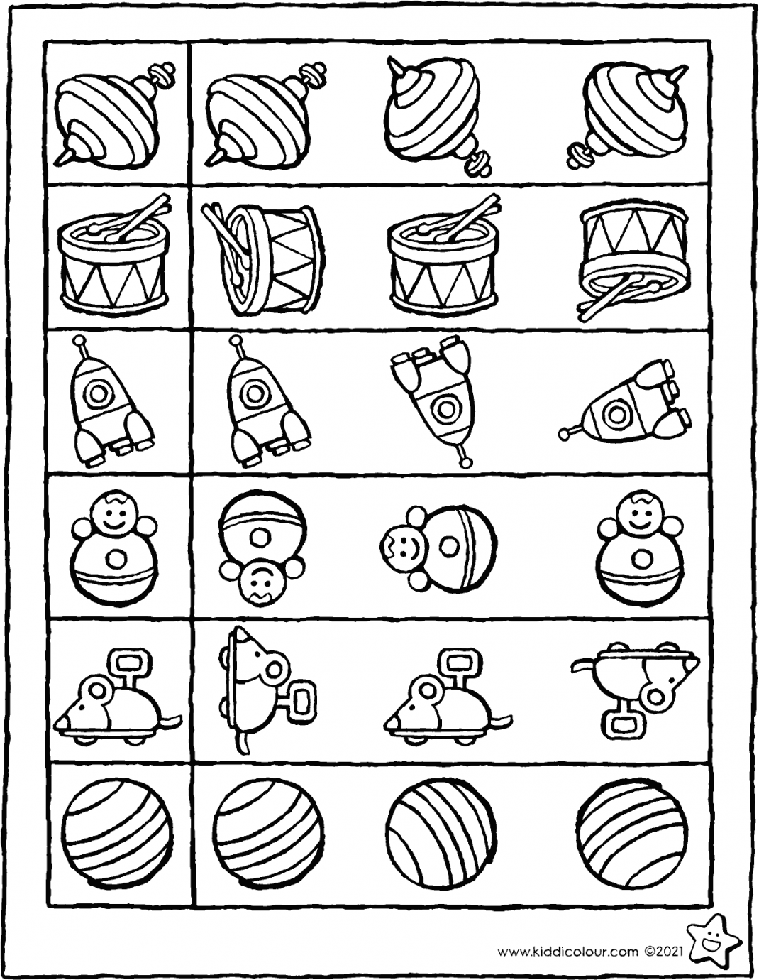 colour in the toy that's identical to the one in the square colouring page drawing picture 01V