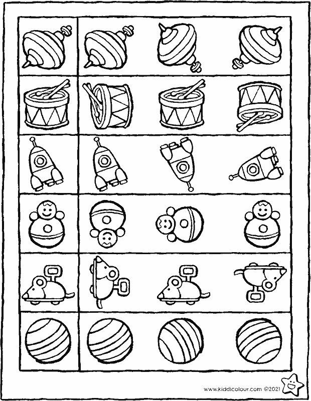 colour in the toy that's identical to the one in the square colouring page drawing picture 01k