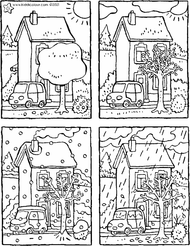 sort the four seasons colouring page drawing picture 01k