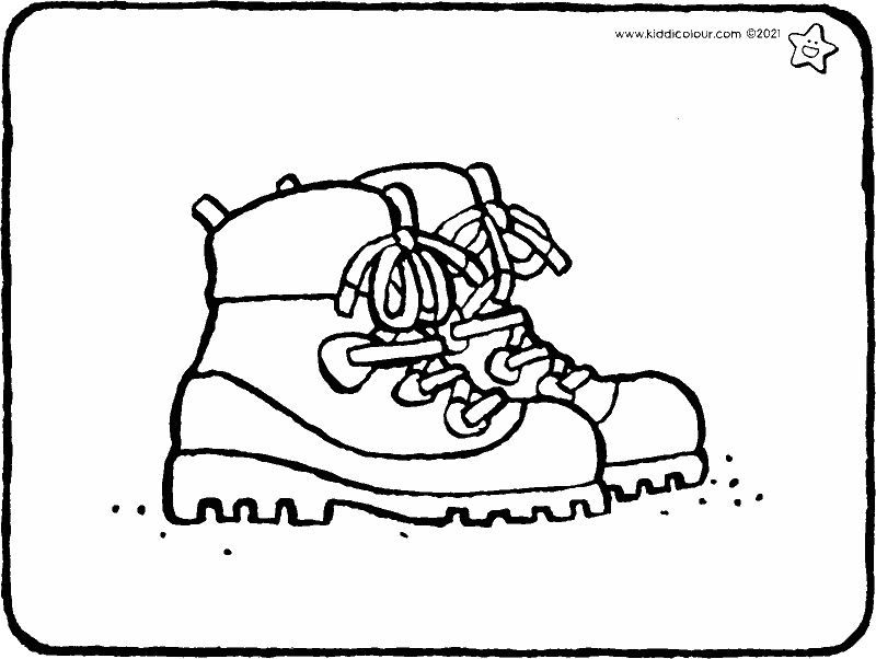 walking boots colouring page drawing picture 01k