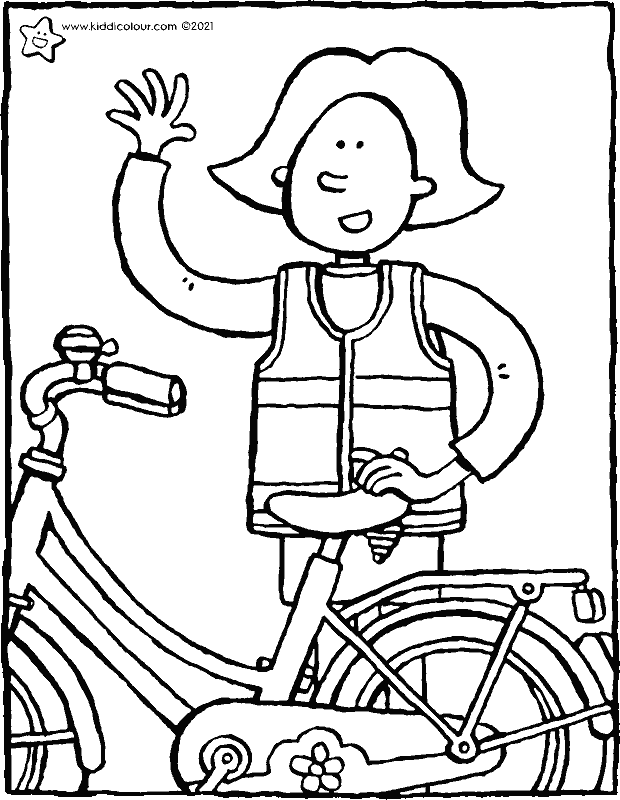 Emma in a high-vis vest colouring page drawing picture 01k
