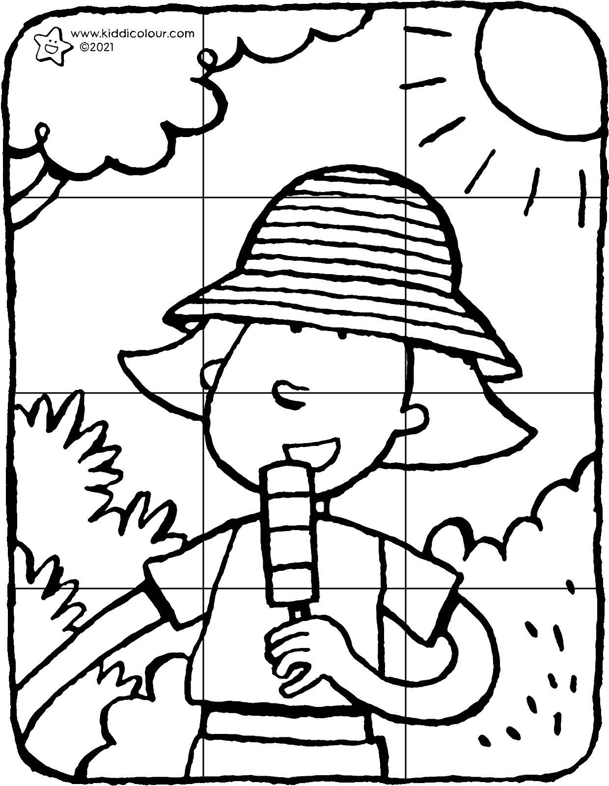Emma with a sunhat 12-piece puzzle colouring page drawing picture 01H
