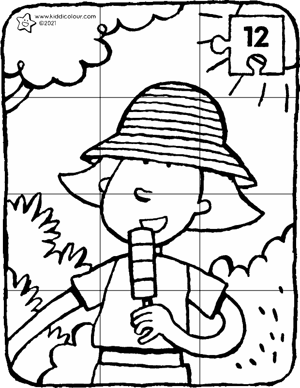 Emma with a sunhat 12-piece puzzle colouring page drawing picture 01k
