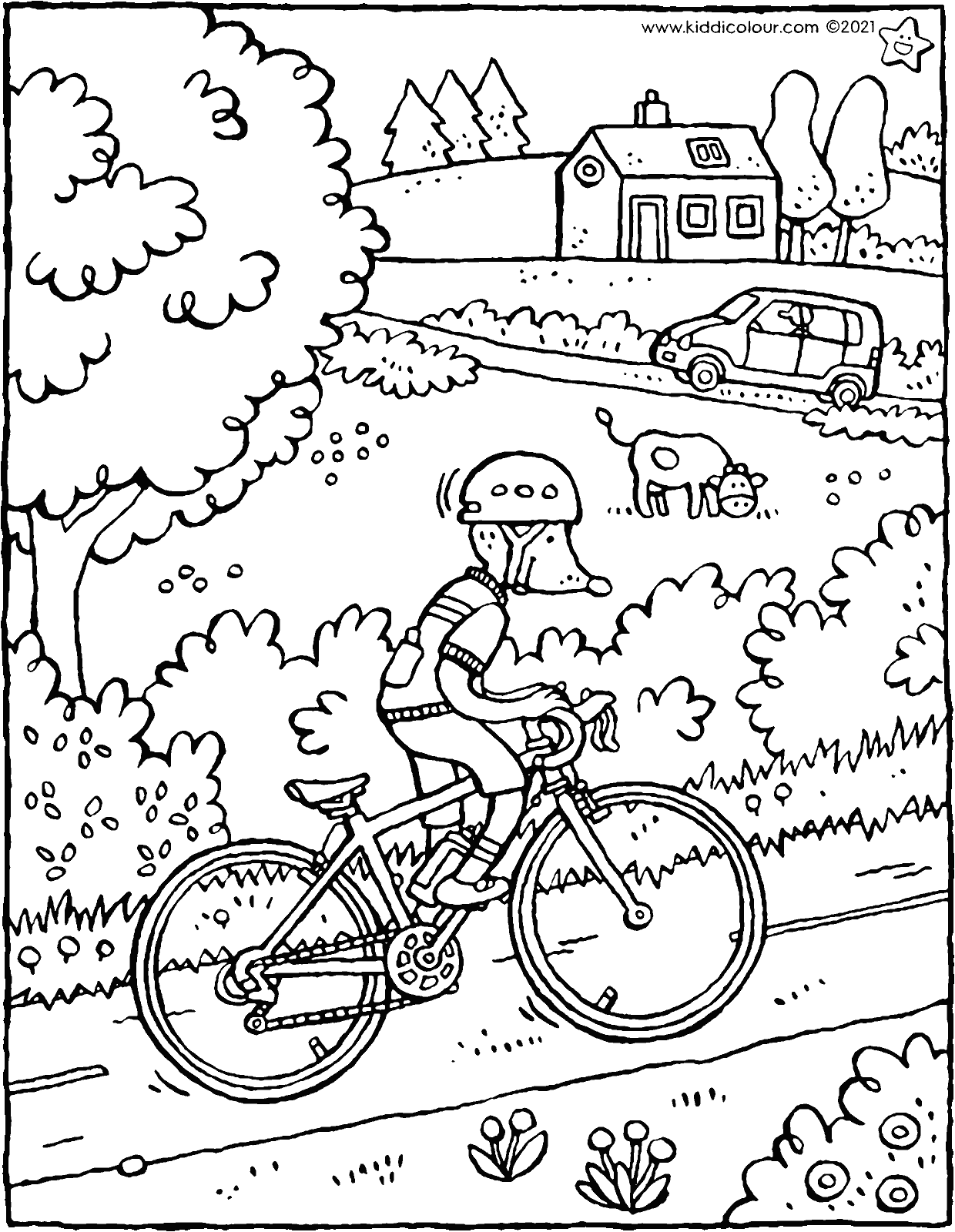 Thomas cycles up the hill colouring page drawing picture 01V