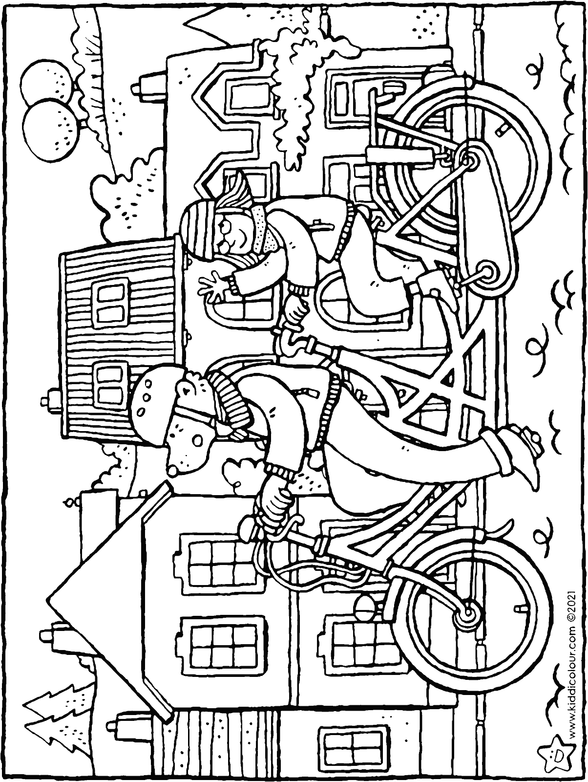 a bike ride on a tandem colouring page drawing picture 01H