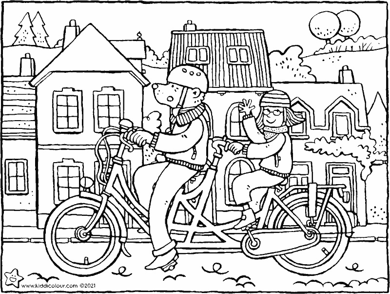 a bike ride on a tandem colouring page drawing picture 01k
