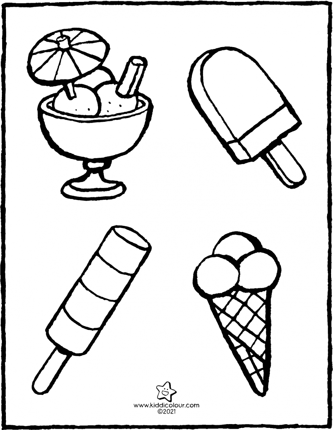 all kinds of ice creams colouring page drawing picture 01V