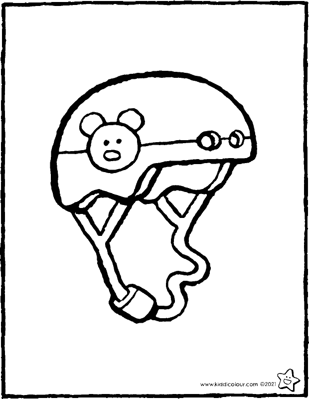bicycle helmet colouring page drawing picture 01k
