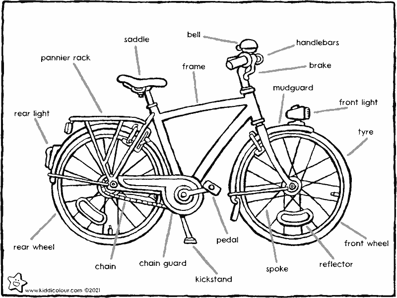 bicycle parts colouring page drawing picture 01k