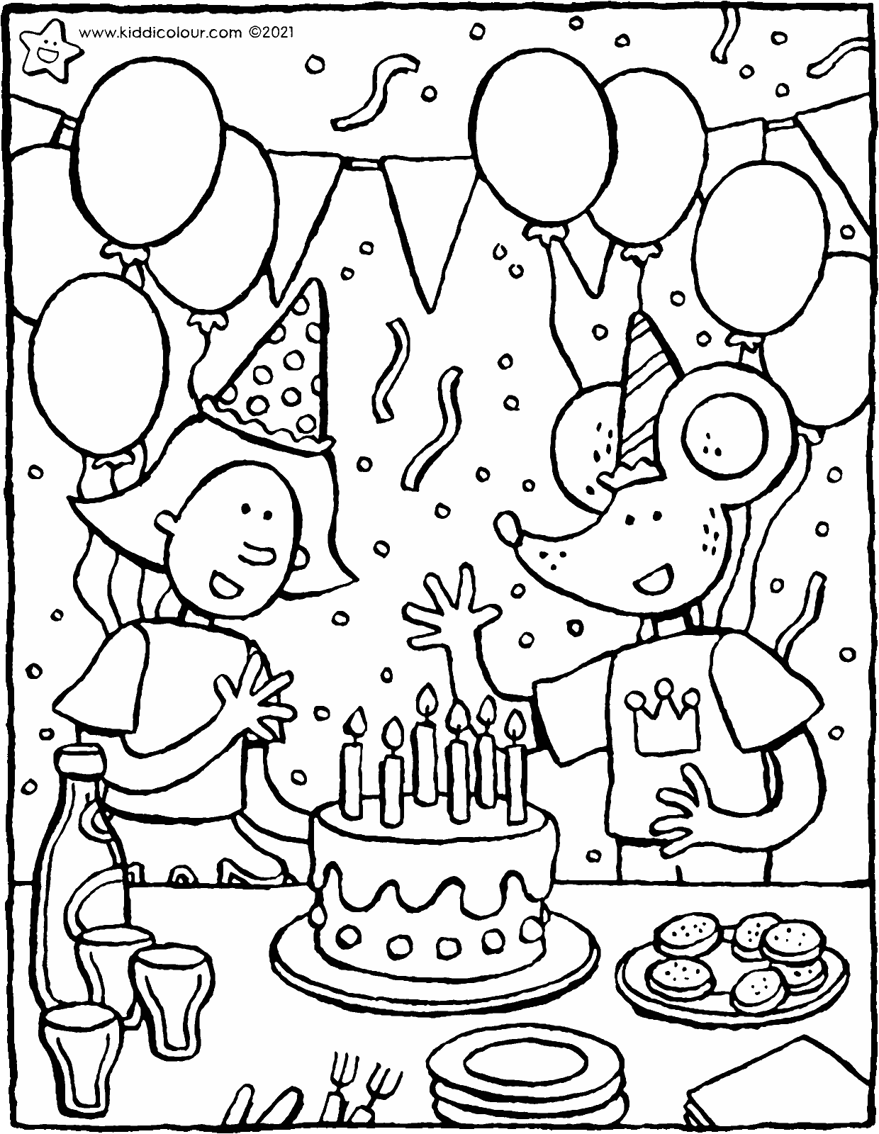 celebrate your birthday with Emma and Thomas colouring page drawing picture 01V