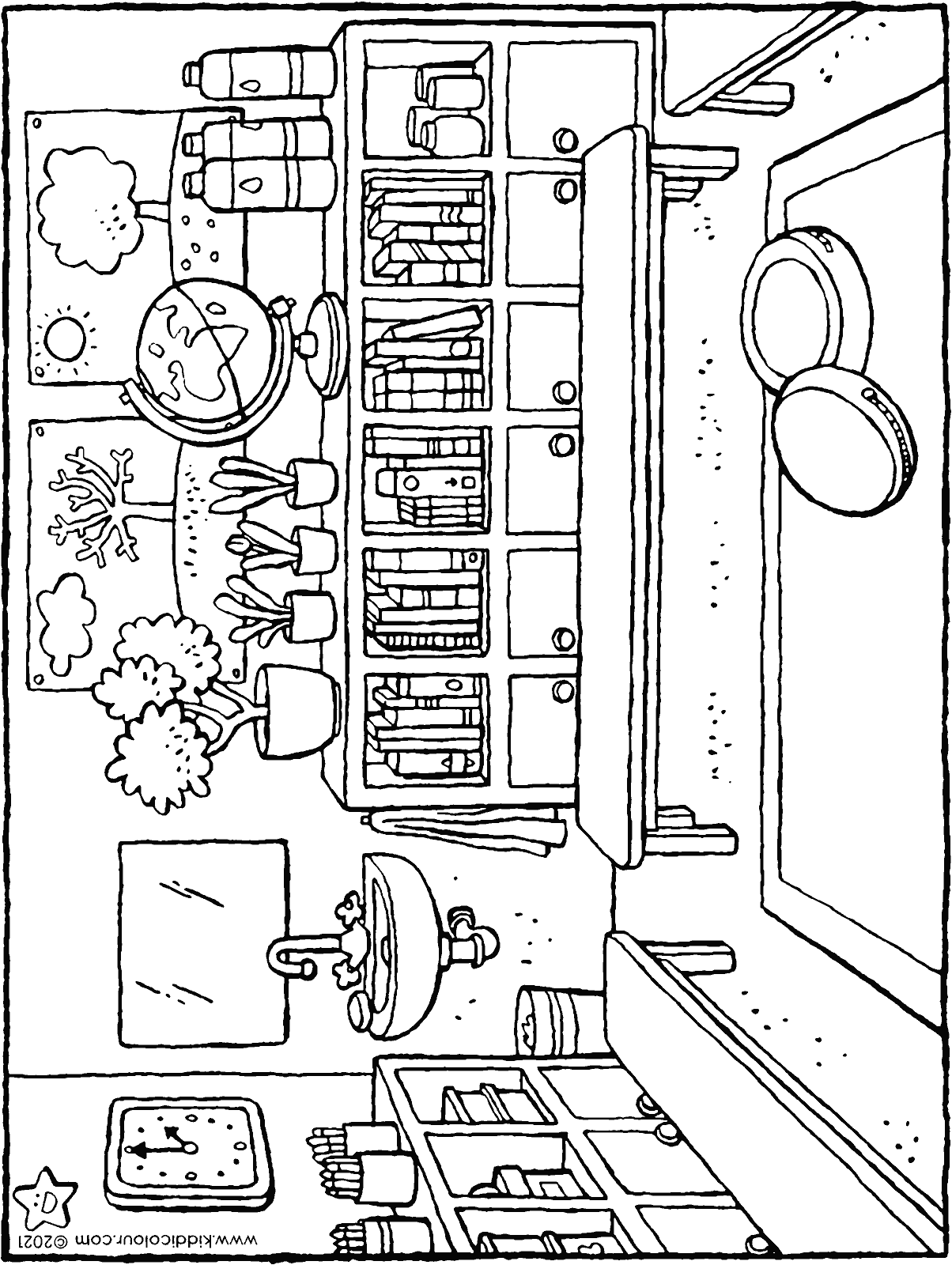 classroom colouring page drawing picture 01H
