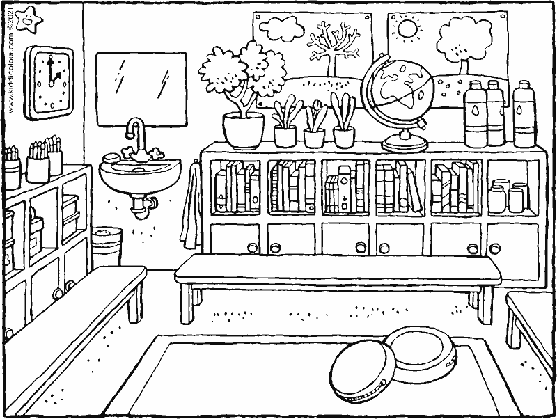 classroom colouring page drawing picture 01k