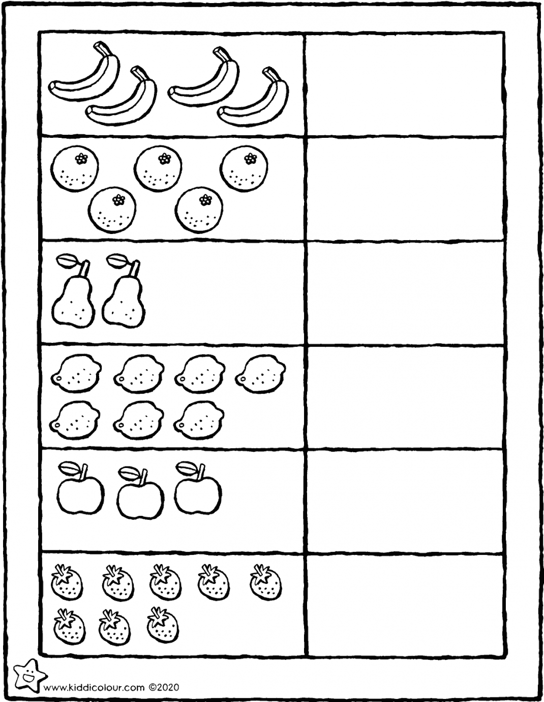 draw the same number of circles as pieces of fruit colouring page drawing picture 01V