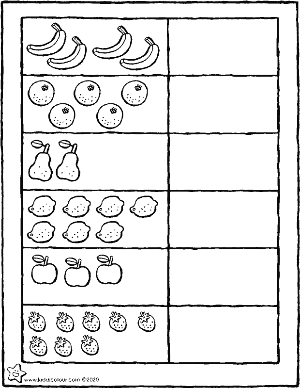 draw the same number of circles as pieces of fruit