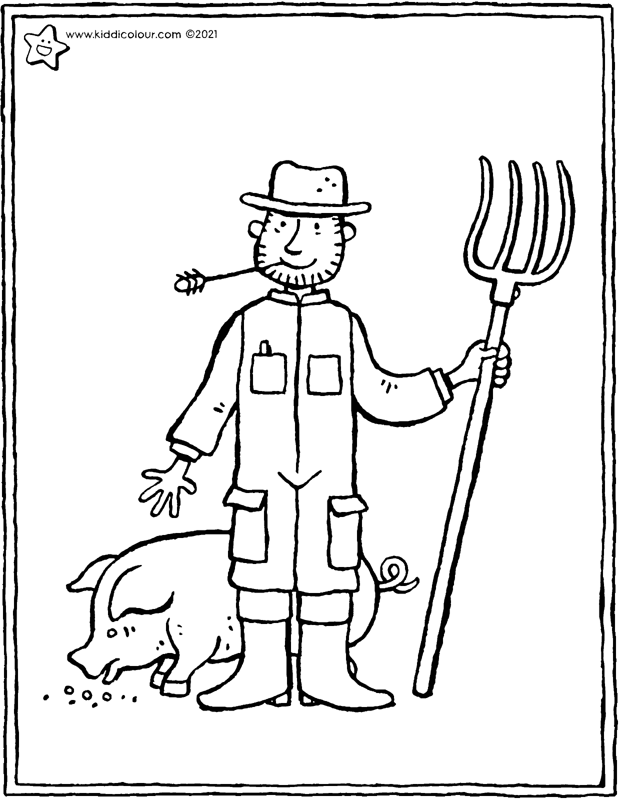 farmer colouring page drawing picture 01V