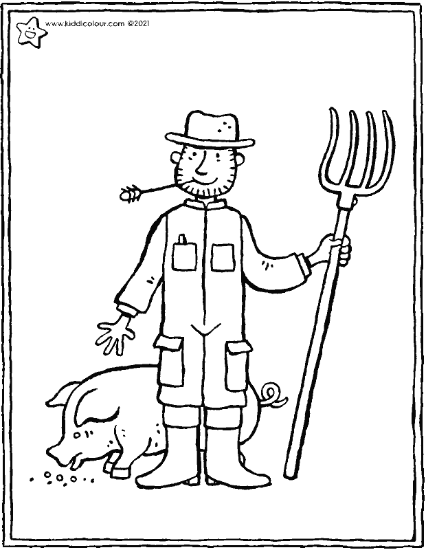 farmer colouring page drawing picture 01k