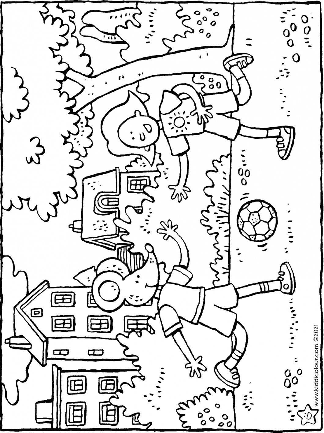 footballing with Emma and Thomas colouring page drawing picture 01H