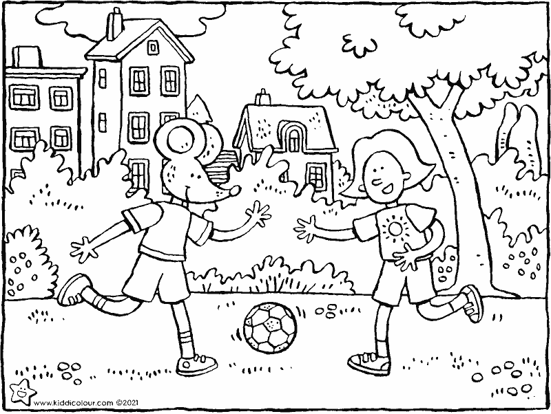 footballing with Emma and Thomas colouring page drawing picture 01k